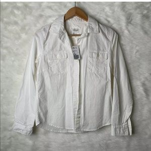 I Love H81 White Casual Button Front Top Medium